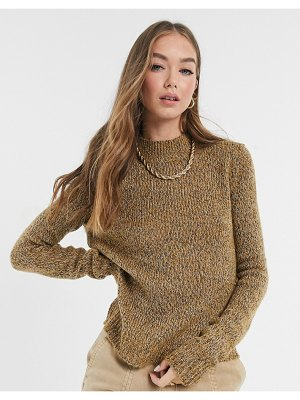 Vero Moda sweater with high neck in camel-brown