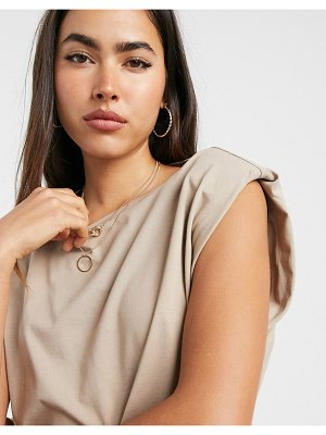 Vero Moda t-shirt with shoulder pads in camel-brown