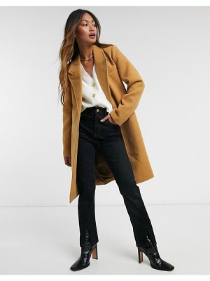 Vero Moda tailored wrap coat in camel-beige