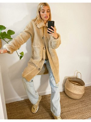 Vero Moda teddy coat with faux fur trims in beige