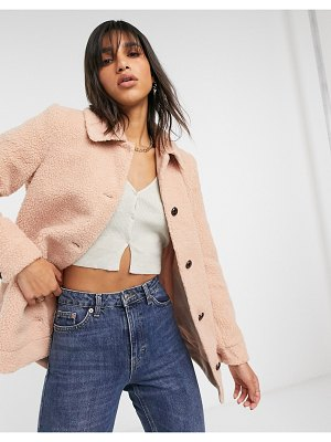 Vero Moda teddy jacket in pink