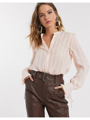 Vero Moda textured blouse with cuff details in blush-pink