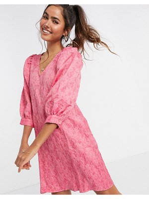 Vero Moda textured smock mini dress with puff sleeves in pink