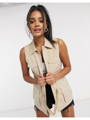 Vero Moda utility suit vest with tie waist in beige