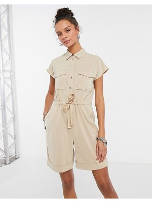 Vero Moda utilty romper in tan