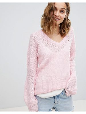 VERO MODA V Neck Sweater With Balloon Sleeve