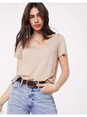 Vero Moda v neck t-shirt in beige
