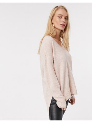 Vero Moda wool mix sweater with v neck in pink