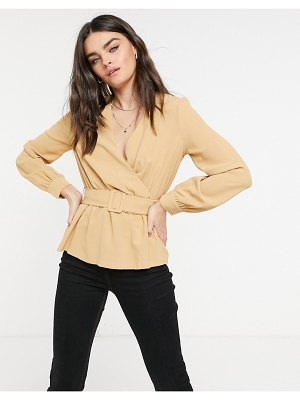 Vero Moda wrap blouse with belted waist in tan-brown