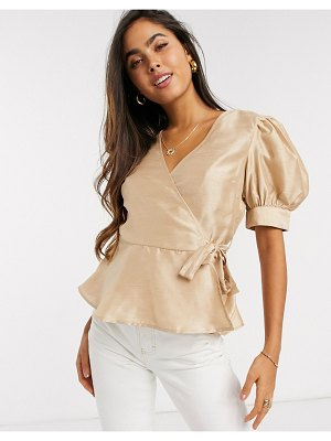 Vero Moda wrap blouse with puff sleeves in beige