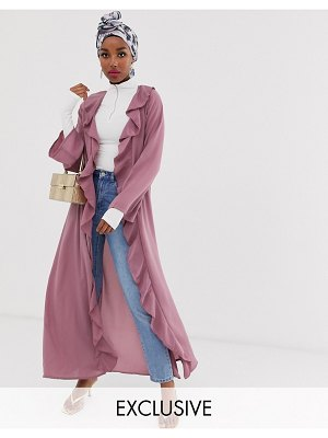 Verona frill front duster jacket in dusty pink