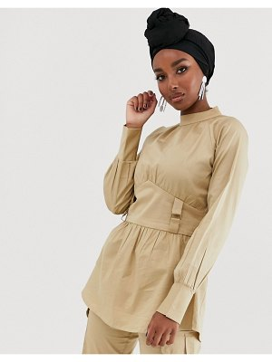 Verona high neck long sleeve blouse with utlity detail two-piece-stone