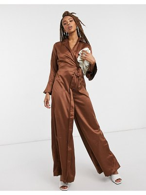 Verona jumpsuit with wrap front detail in chocolate-brown