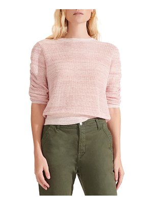 Veronica Beard celia ruched sleeve linen blend sweater