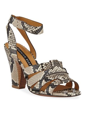 Veronica Beard Charley Snake-Print Ankle-Wrap Sandals