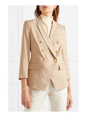 Veronica Beard empire dickey double-breasted linen-blend twill blazer