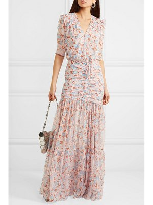 Veronica Beard mick ruched floral-print silk-chiffon maxi dress
