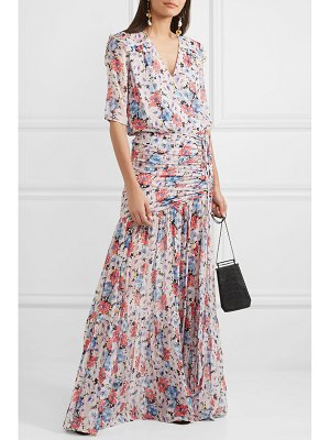 Veronica Beard mick wrap-effect ruched floral-print silk-voile maxi dress