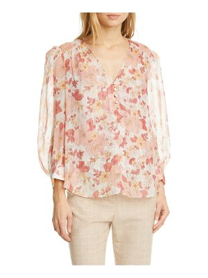 Veronica Beard milan metallic stripe floral silk blouse