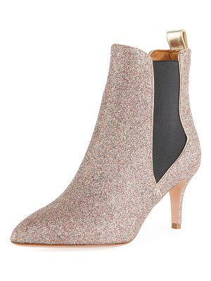 Veronica Beard Parker Glitter Metallic Leather Point-Toe Chelsea Bootie