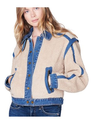 Veronica Beard Potter Cropped Denim-Trim Sherpa Jacket