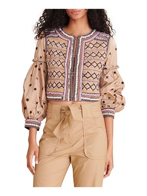 Veronica Beard Rocci Embroidered Pleated-Back Jacket