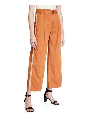 Veronica Beard Ryder Pleated Pants with Tuxedo Stripes