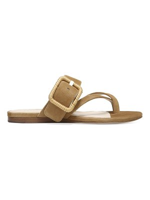 Veronica Beard salva raffia buckle suede flat sandals