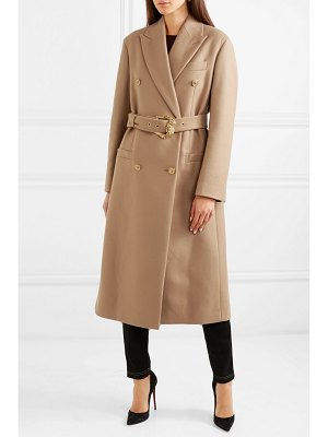 Versace belted double-breasted wool coat