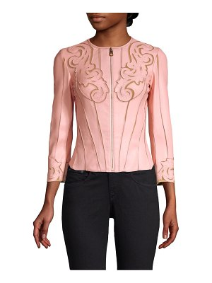 Versace Collection fitted laser-cut leather jacket