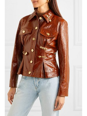 Versace embellished textured patent-leather peplum jacket