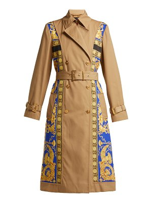Versace Lovers Baroque Print Double Breasted Trench Coat