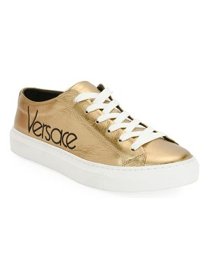 Versace Metallic Logo Platform Low-Top Sneakers