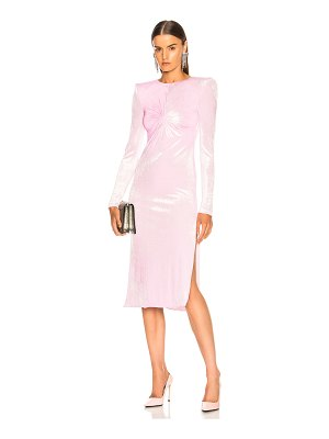 Versace Ruched Long Sleeve Midi Dress