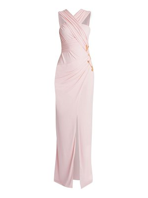 Versace sleeveless ruched jersey safety pin gown