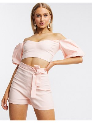 Vesper bardot top with exaggerated puff sleeves two-piece in pale pink