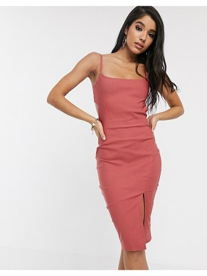 Vesper cami strap with cut out midi dress in vintage rose-pink