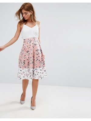 Vesper midi skirt in floral print with contrast border