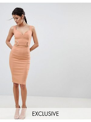 Vesper plunge sweetheart pencil dress with rose gold trim