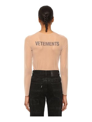 VETEMENTS Back logo sheer stretch organza top