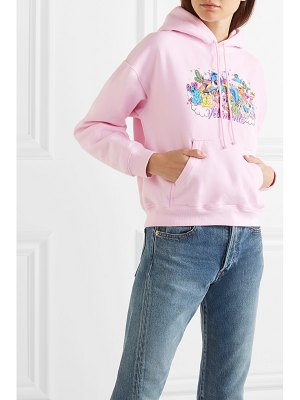 VETEMENTS cropped printed cotton-jersey hoodie