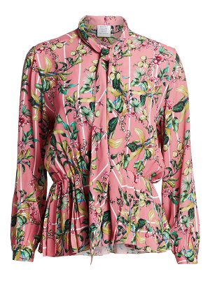 VETEMENTS pleated floral peplum blouse