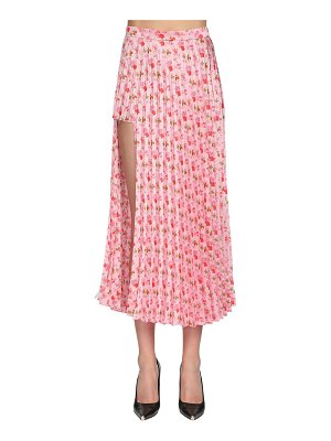 VETEMENTS Pleated jersey midi skirt w/side cut out