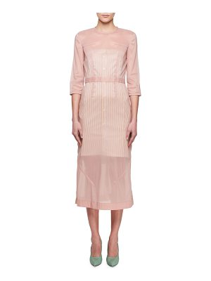 Victoria Beckham 3/4-Sleeve Stretch Organza A-Line Midi Dress