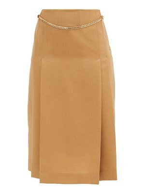 Victoria Beckham belted pleated wool high-rise skirt