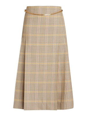 Victoria Beckham chain detail plaid wool midi skirt