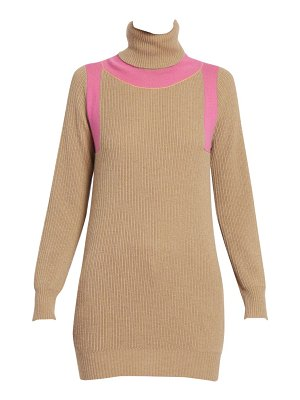 Victoria Beckham contrast panel ribbed cashmere turtleneck sweater
