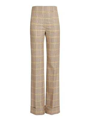 Victoria Beckham cuffed wool plaid trousers