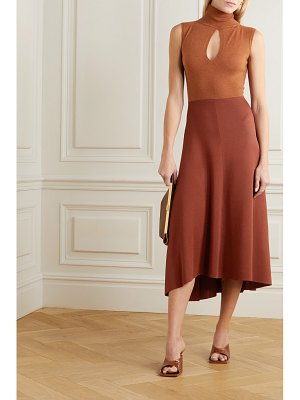 Victoria Beckham cutout two-tone knitted turtleneck midi dress