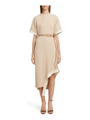 Victoria Beckham leather belt asymmetrical dress